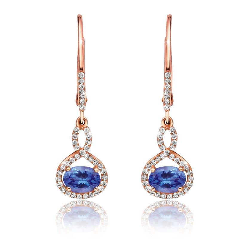Oval Tanzanite & Diamond Dangle Earrings in 14k Rose Gold