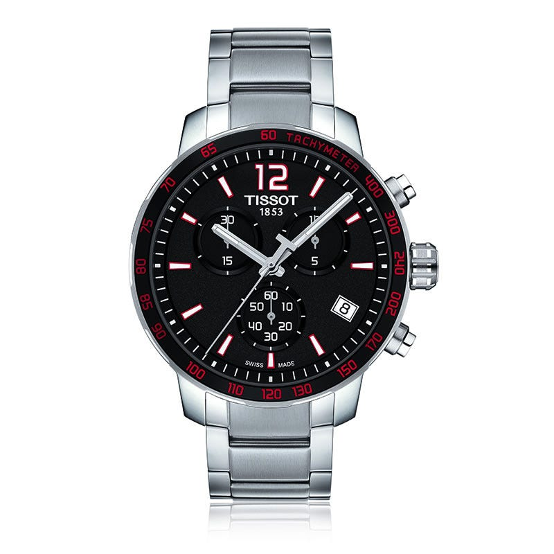Tissot Quickster Quartz Chrono Black & Red Dial Men'S Watch