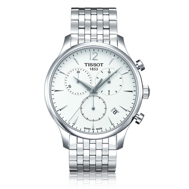 Tissot Tradition Men's Quartz Silver Dial Watch With Stainless Steel Bracelet T0636171103700