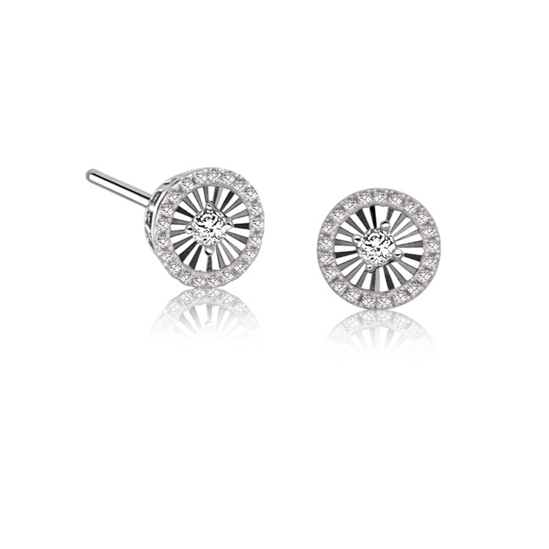 Petite Diamond Halo Stud Earrings in 14k White Gold