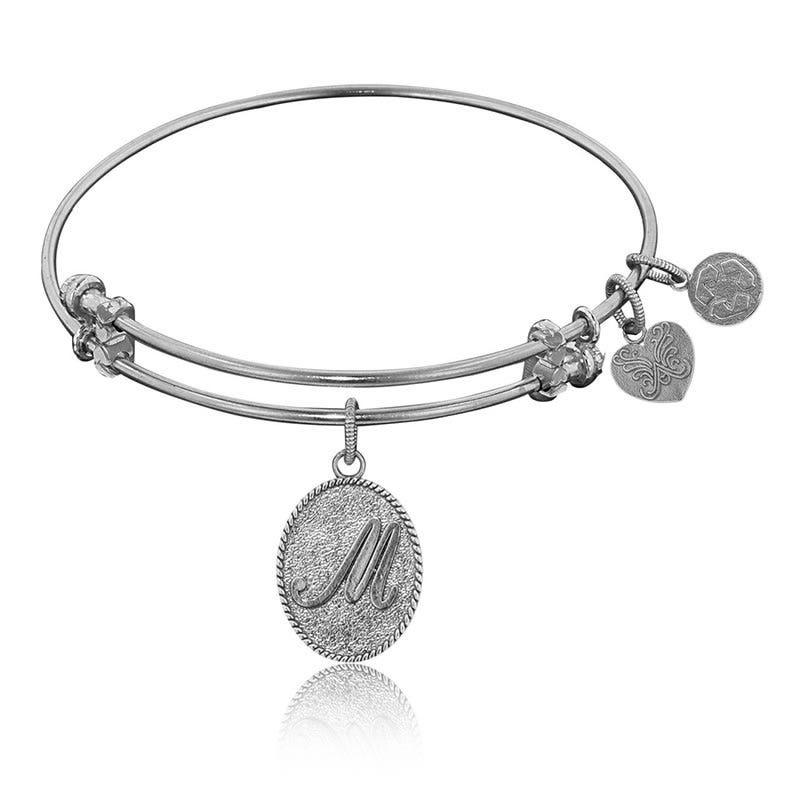 Initial M Charm Bangle Bracelet in White Brass