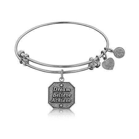 Dream Believe Achieve Charm Bangle Bracelet in White Brass