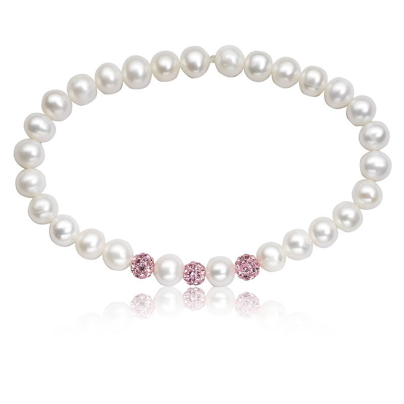 Baby Pearl & Pink Crystal Stretch Bracelet 6 Inches