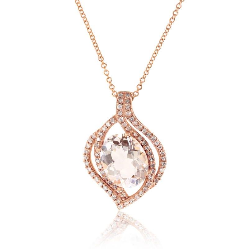 EFFY Oval Morganite & Diamond Pendant in 14K Rose Gold