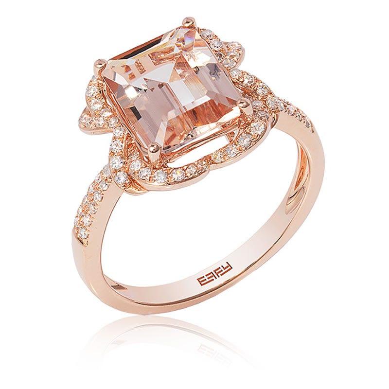 EFFY Emerald-Cut Blush Morganite & Diamond Ring in 14k Rose Gold