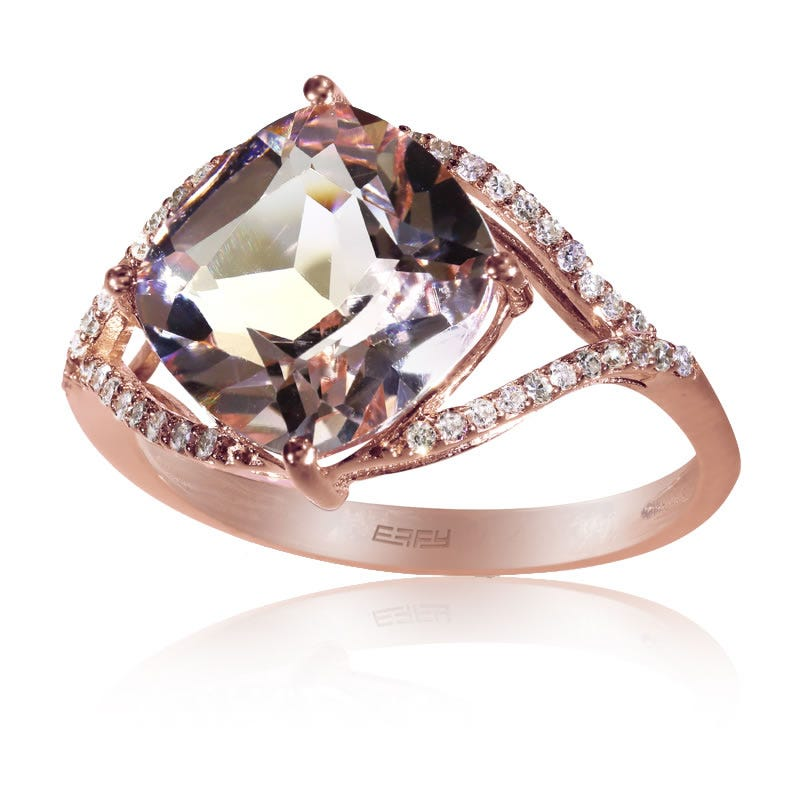 EFFY Cushion-Cut Morganite & Diamond Ring in 14K Rose Gold
