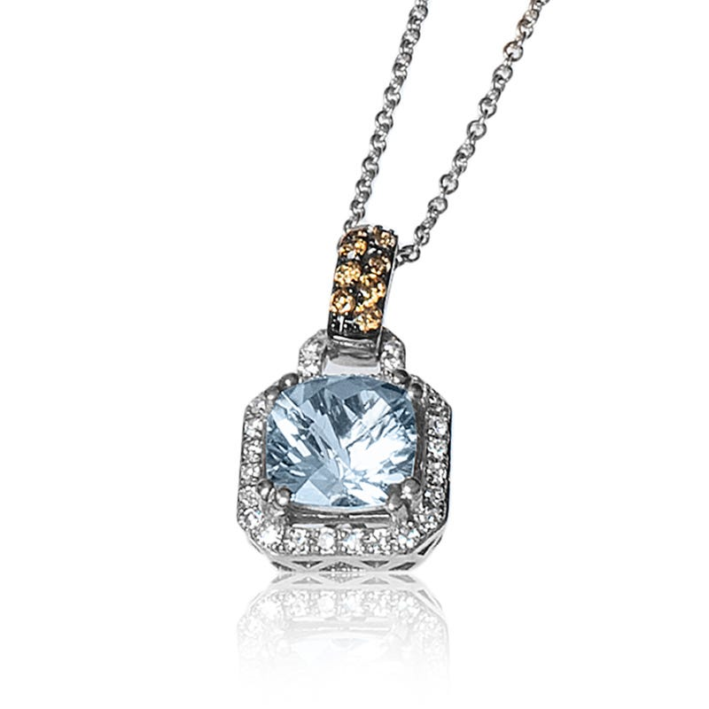 EFFY Aquamarine Pendant with Brown & White Diamond Halo in 14k White Gold