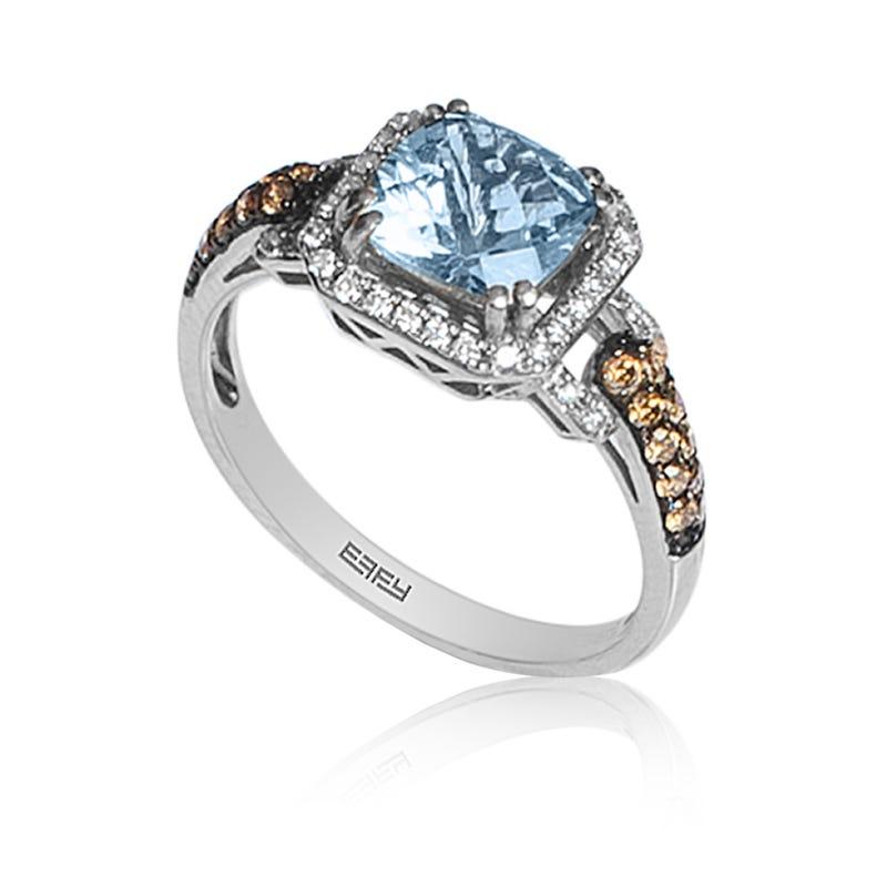EFFY Aquamarine & Diamond Cocktail Ring in 14K White Gold