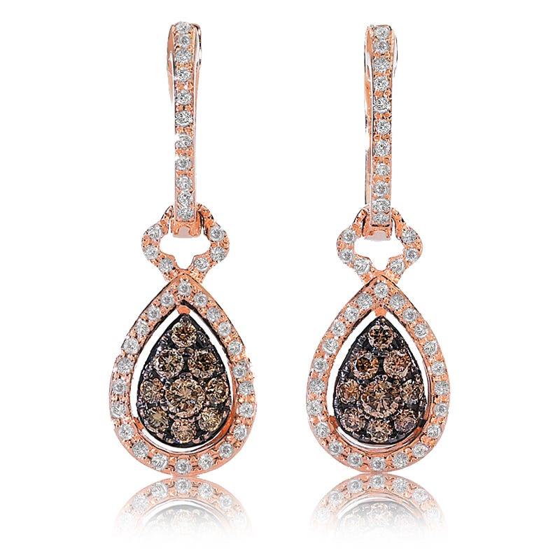 EFFY ½ct.+ Espresso & White Diamond Dangle Earrings in Rose Gold