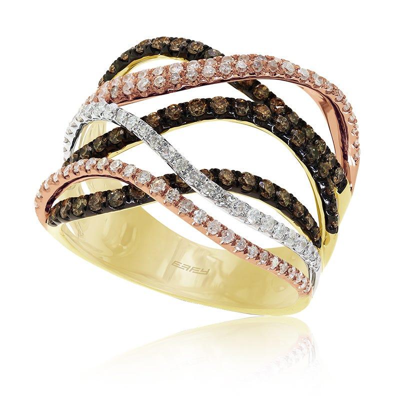 EFFY 1ct.+ Prism Espresso & White Diamond Ring in 14k Rose Gold