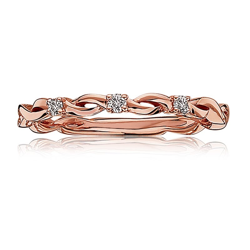 Diamond Woven Design Band in 10k Rose Gold