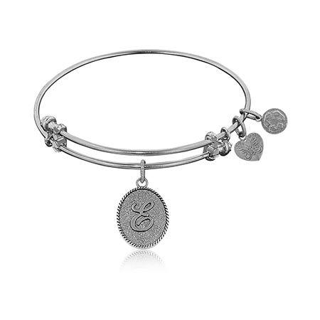 Initial E Charm Bangle Bracelet in White Brass