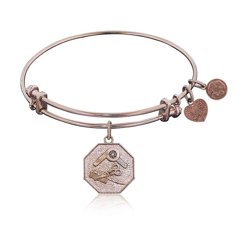Hair Stylist Charm Bangle Bracelet in Pink Brass