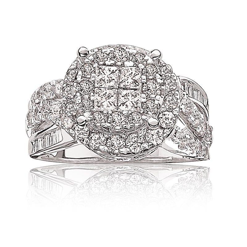 Lucille. Diamond 2ct. Quad Double Halo Pavé Engagement Ring 14k White Gold