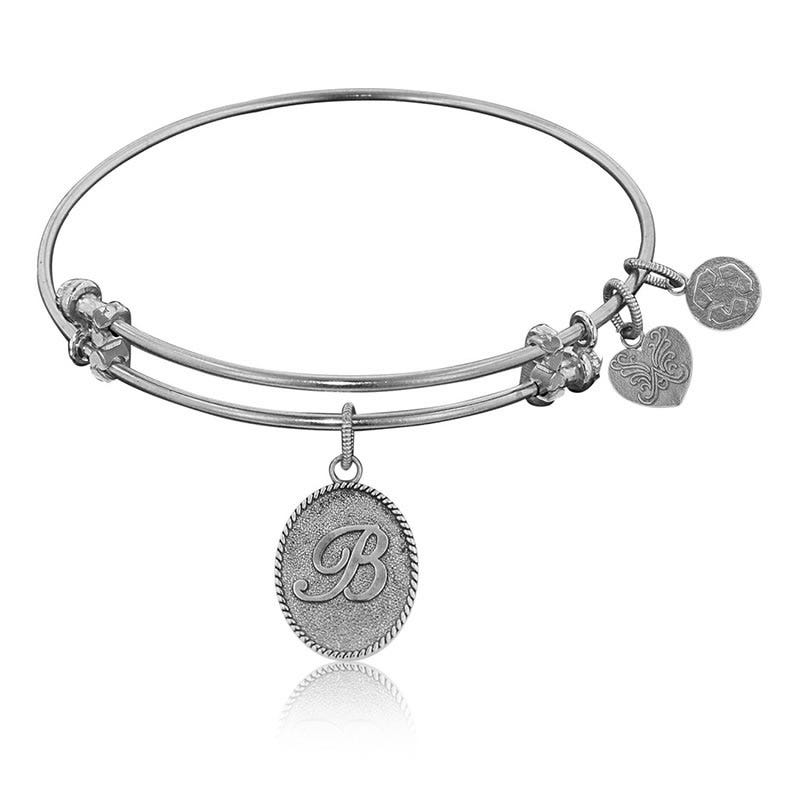 Initial B Charm Bangle Bracelet in White Brass