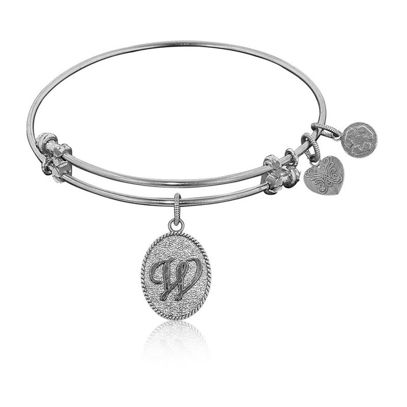 Initial W Charm Bangle Bracelet in White Brass