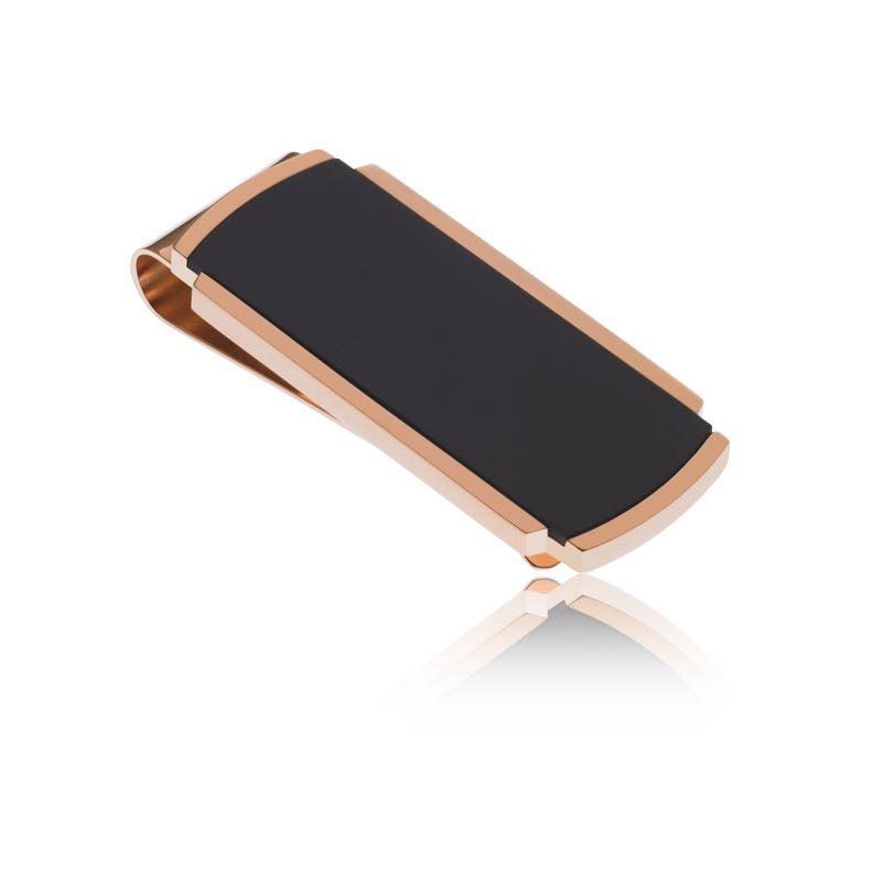 Stainless Steel & Rose Gold Money Clip with Brushed Black Center