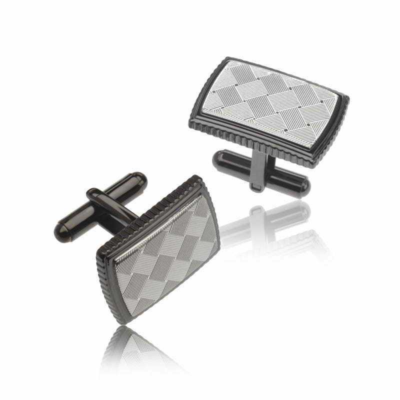 Gunmetal Argyle Design Cufflinks