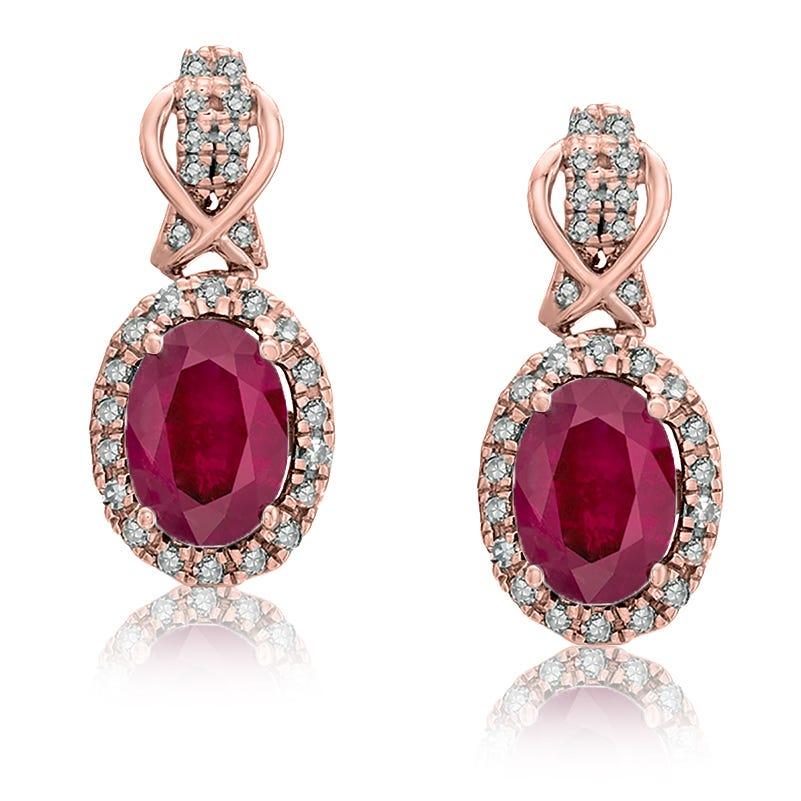 Ruby & Diamond Halo Drop Earrings in 10k Rose Gold