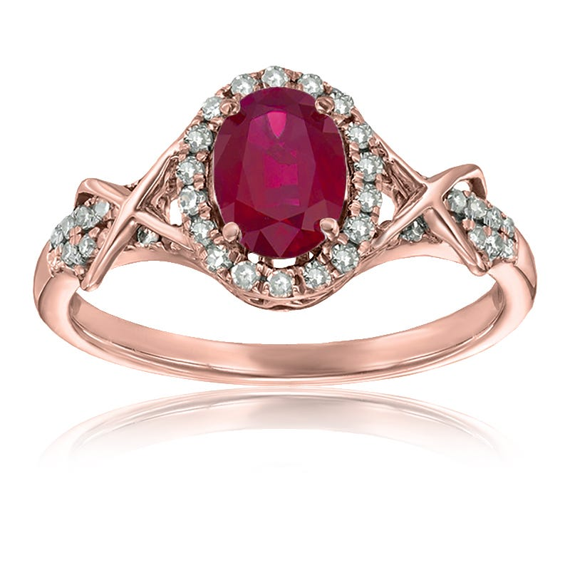 Ruby & Diamond Halo Ring in 10k Rose Gold