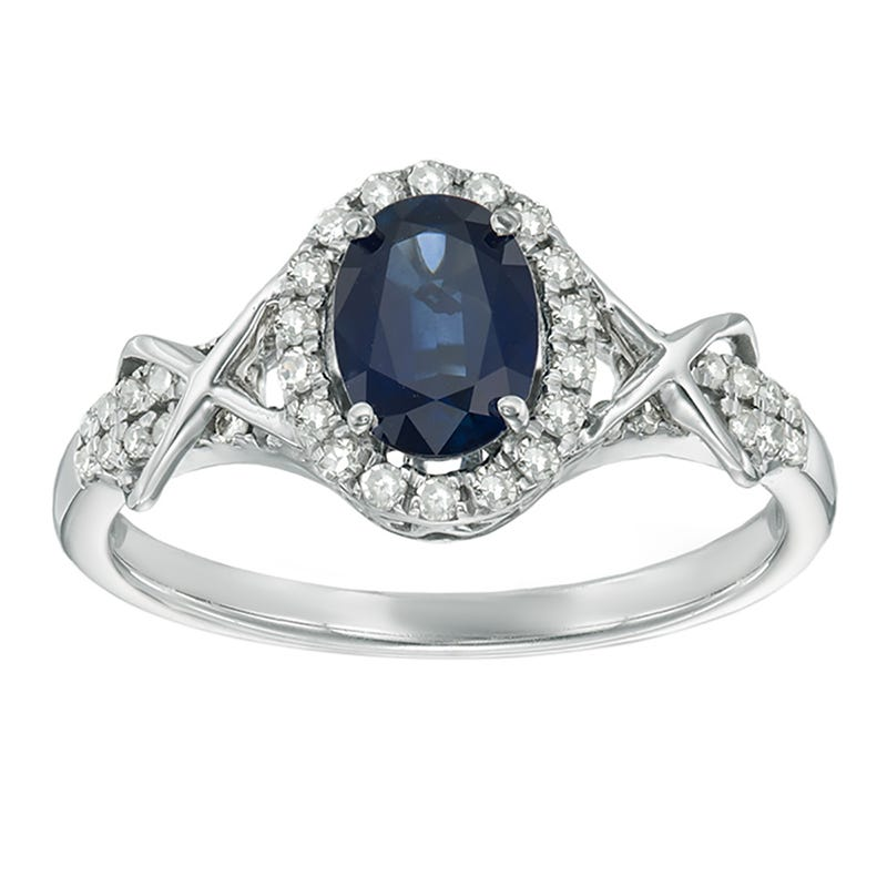 Sapphire & Diamond Halo Ring in 10k White Gold
