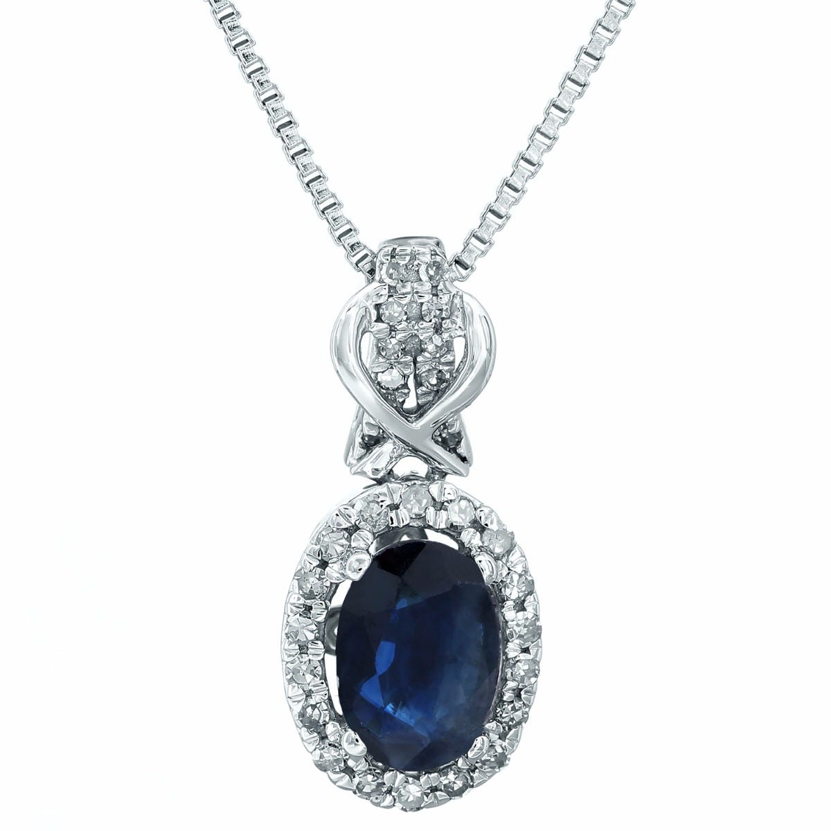 Sapphire & Diamond Halo Pendant in 10k White Gold