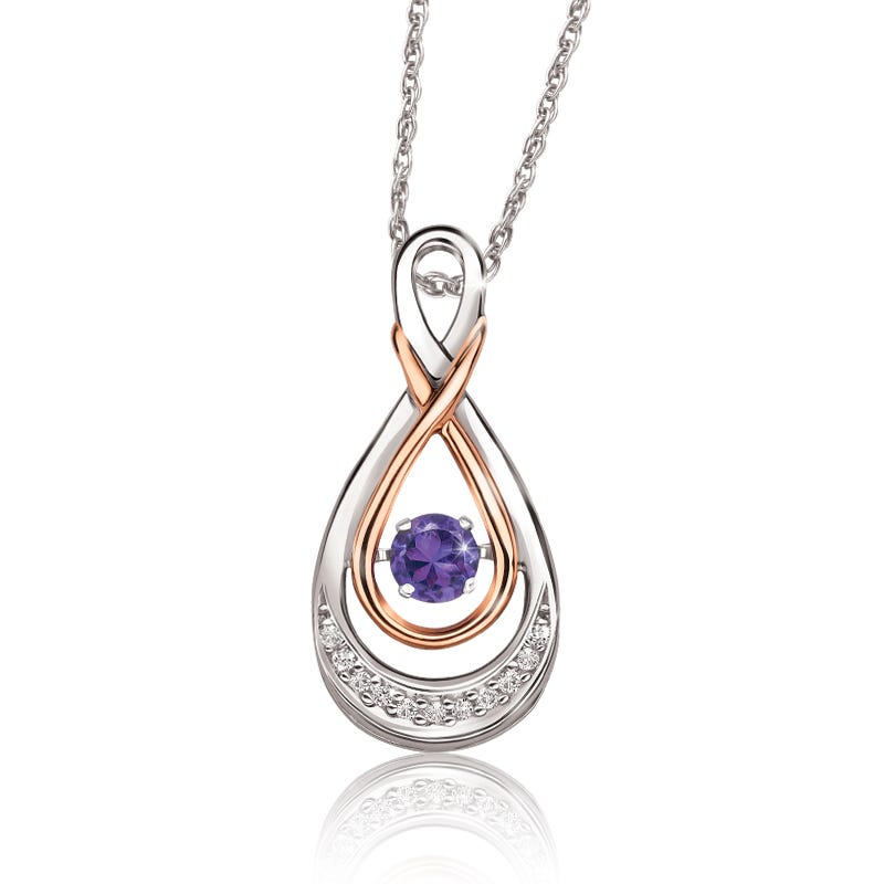 Beats of Love: Amethyst & Diamond Twist Pendant in 10k Rose Gold