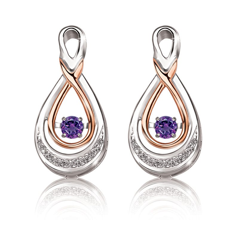 Beats of Love: Amethyst & Diamond Drop Earrings in 10k Rose Gold