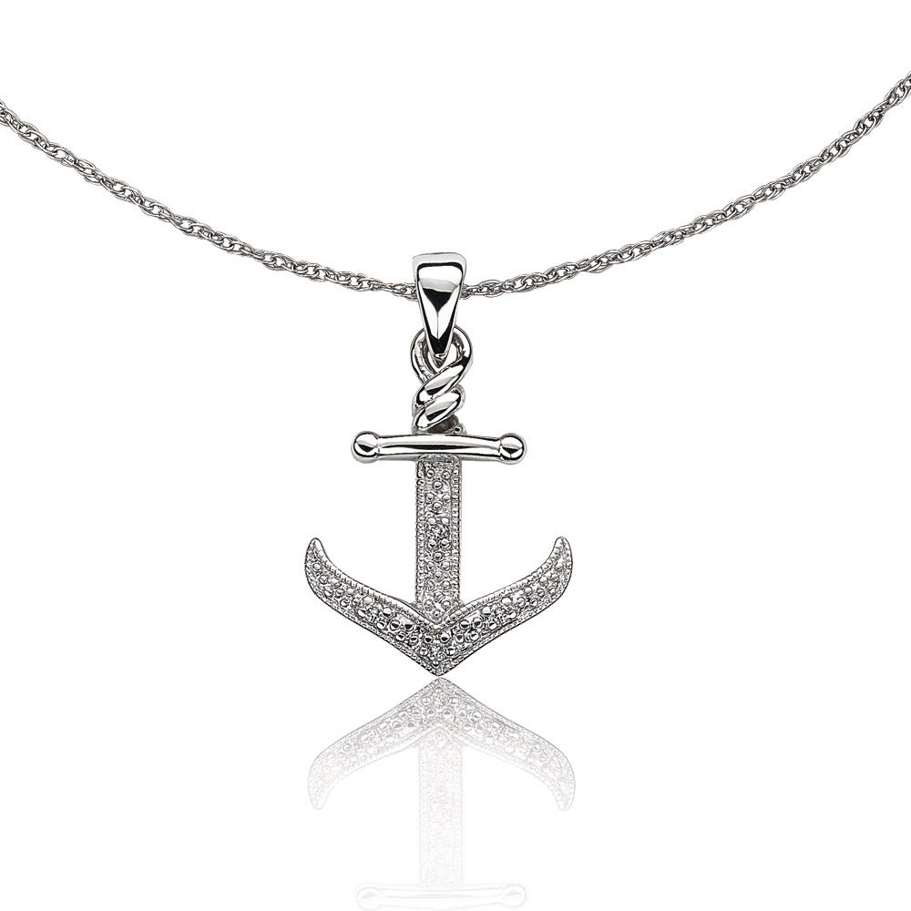 Diamond Sailor's Anchor Pendant in 10k White Gold