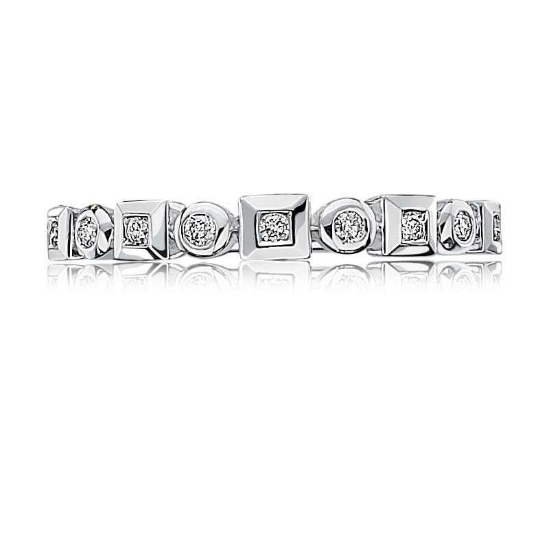 Diamond Geometric Stackable Band in 10k White Gold