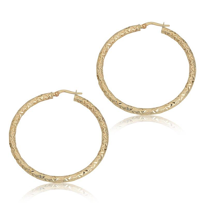 Diamond-Cut Hoop Earrings in 10k Yellow Gold