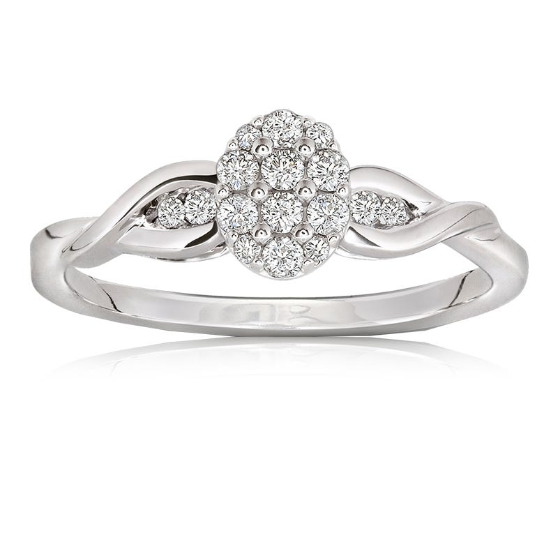 Diamond Oval Cluster Ring in 10k White Gold