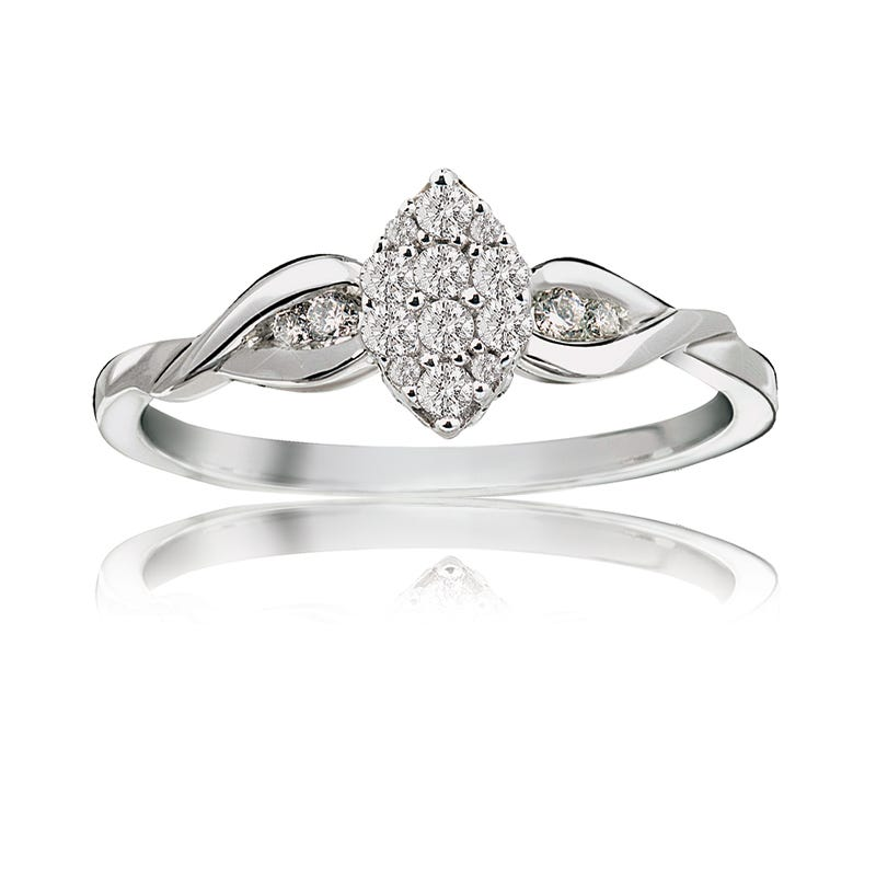 Diamond Marquise Cluster Ring in 10k White Gold