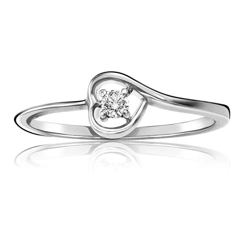 Diamond Solitaire Heart Promise Ring in 10k White Gold