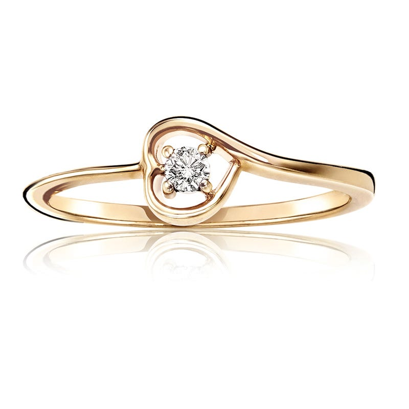 Diamond Solitaire Heart Promise Ring in 10k Yellow Gold