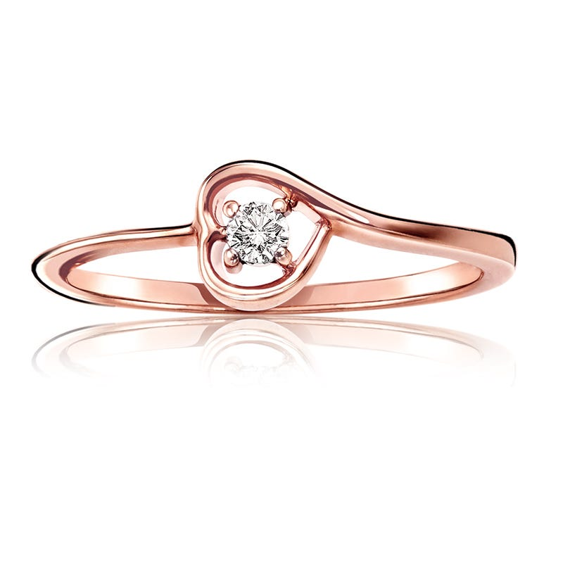 Diamond Solitaire Heart Promise Ring in 10k Rose Gold
