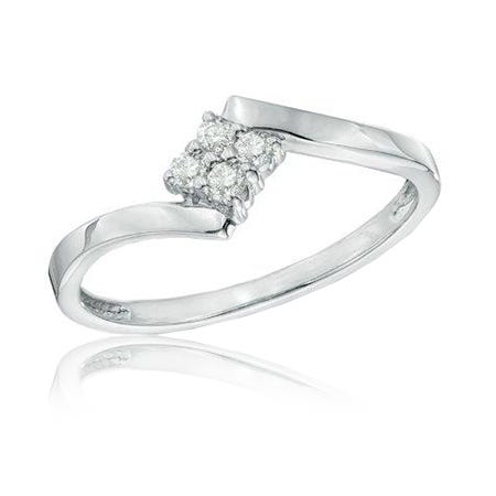 Diamond Cluster Promise Ring in 10k White Gold