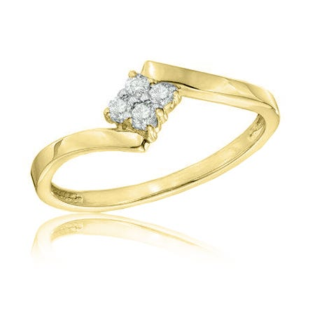 Diamond Cluster Square Promise Ring in 10k Yellow Gold