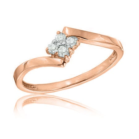 Diamond Cluster Square Promise Ring in 10k Rose Gold