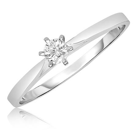 92c6573a48262 Diamond Solitaire Promise Ring in 10k White Gold