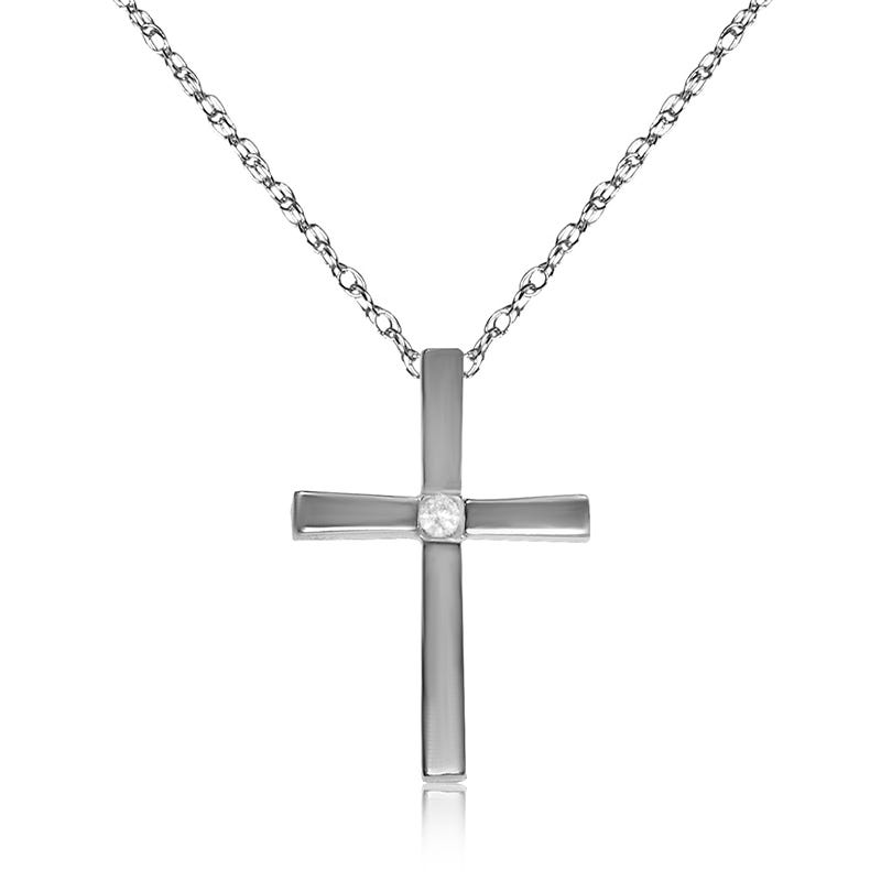 Diamond .03ctw Cross Pendant in 10k White Gold