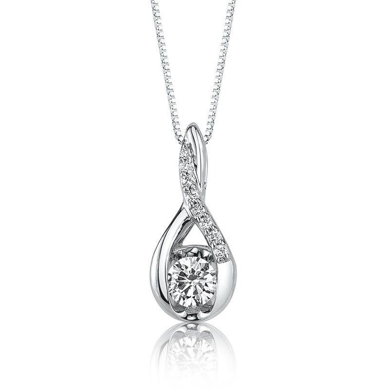 Sirena 1/3ct. t.w. Diamond Twist Pendant in 14k White Gold