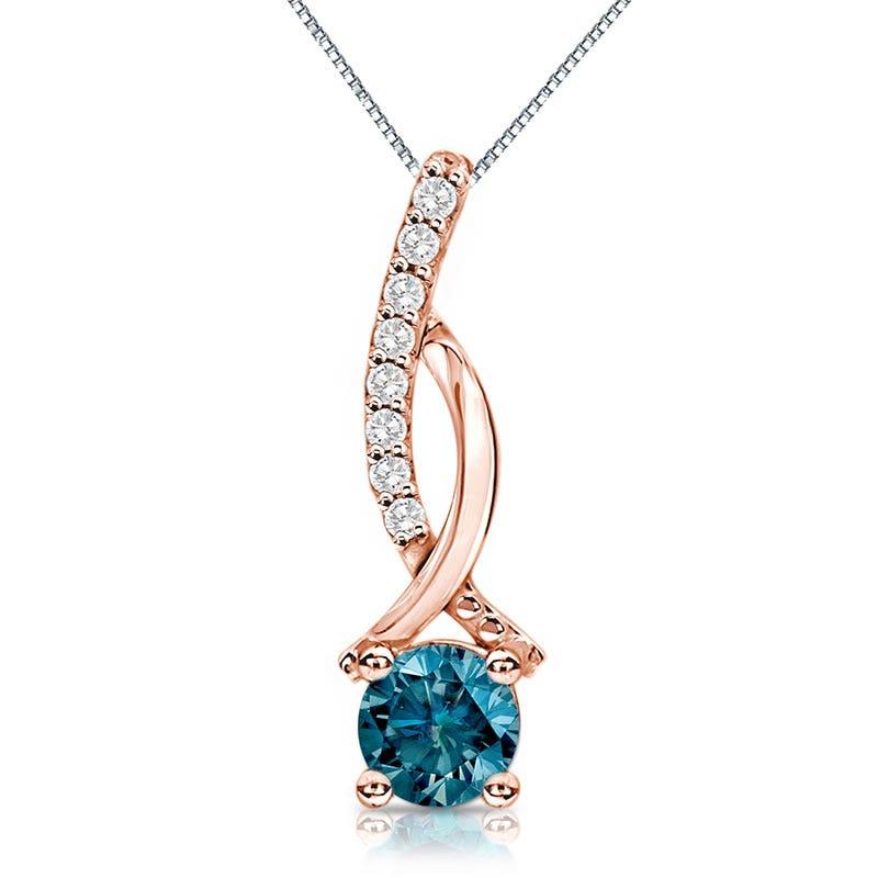 Genuine ½ ct. t.w. Blue Diamond Pendant in 14k Rose Gold