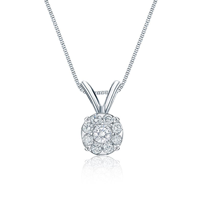 Diamond Halo Pendant 1/4ct. in 14k White Gold
