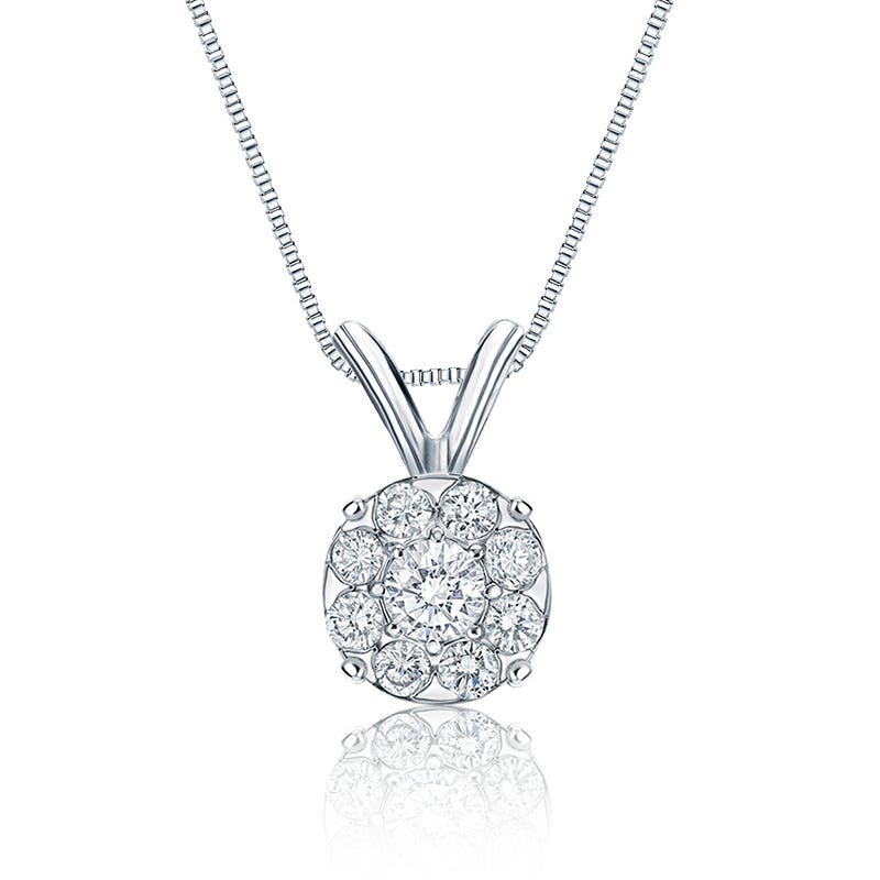Diamond 3/4ct. t.w. Halo Pendant in 14k White Gold