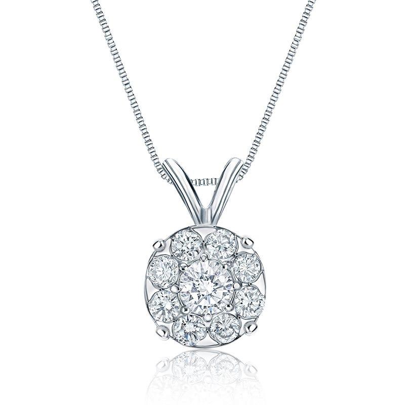Diamond 1ct. t.w. Halo Pendant in 14k White Gold