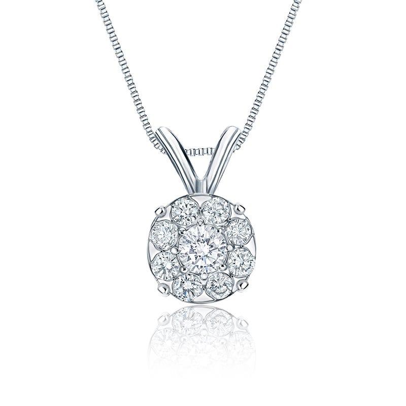 Diamond 1 1/2ct. t.w. Halo Pendant in 14k White Gold