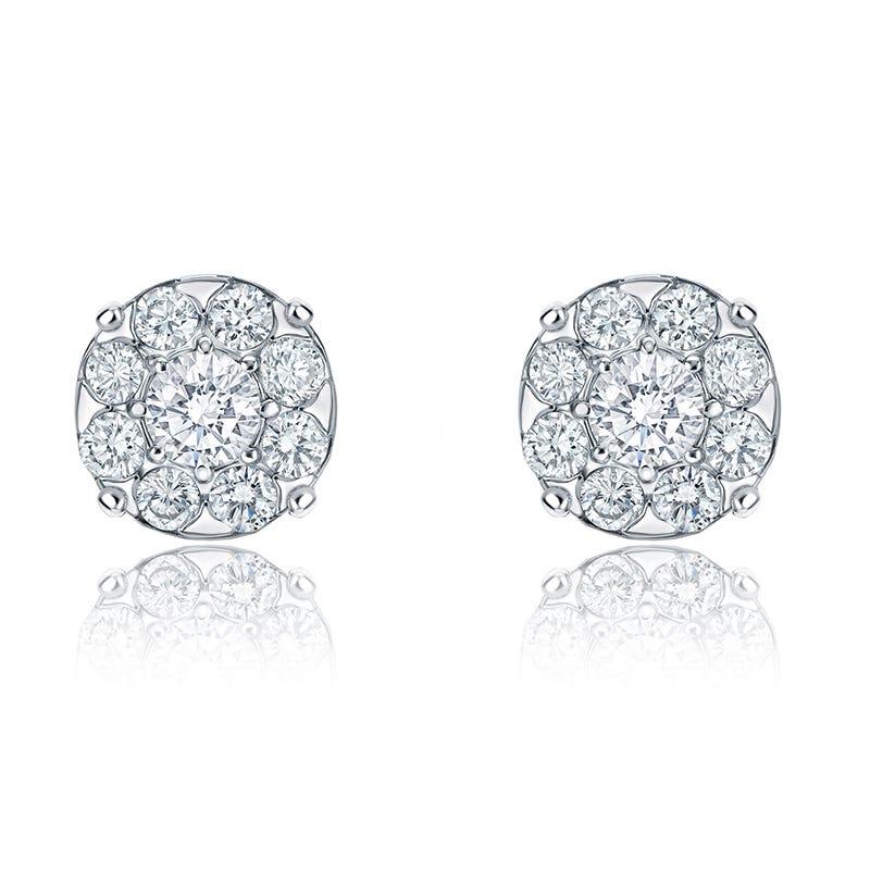 Diamond 1ct. t.w. Halo Stud Earrings in 14k White Gold