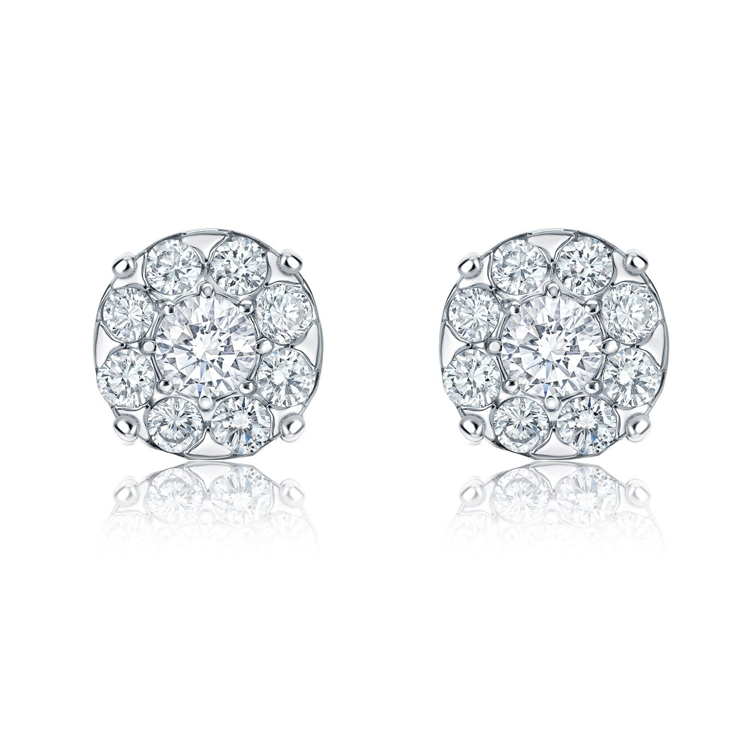 Diamond 1½ct. t.w. Halo Stud Earrings in 14K White Gold