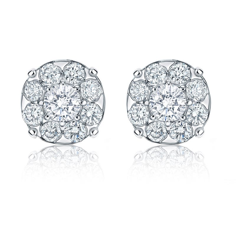 Diamond 2ct. t.w. Halo Stud Earrings in 14k White Gold